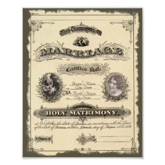 Vintage 1800's Marriage Certificate Poster