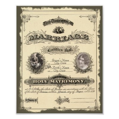 Vintage 1800'S Marriage Certificate Poster | Zazzle