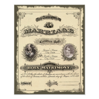 Vintage 1800's Marriage Certificate Posters