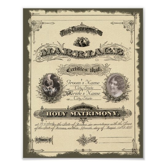 Vintage 1800s Marriage Certificate Poster – Marriage Certificate
