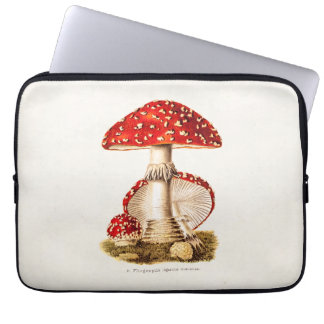 Vintage 1800s Mushroom Red Mushrooms Template Computer Sleeve