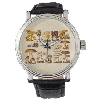 Vintage 1800s Mushroom Variety  Mushrooms Template Wrist Watch