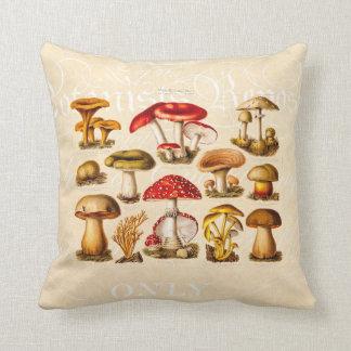 Vintage 1800s Mushroom Variety Red Mushrooms Throw Pillow