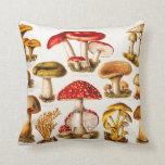 Vintage 1800s Mushroom Variety Template Throw Pillow