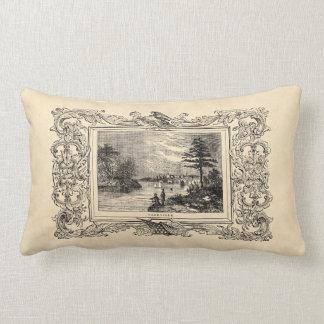 Vintage 1800s Nashville Tennessee Illustration Lumbar Pillow
