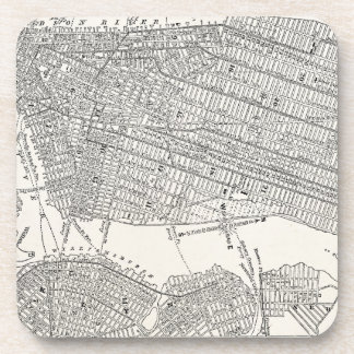 Vintage 1800s New York City Brooklyn Map NYC Maps Beverage Coasters
