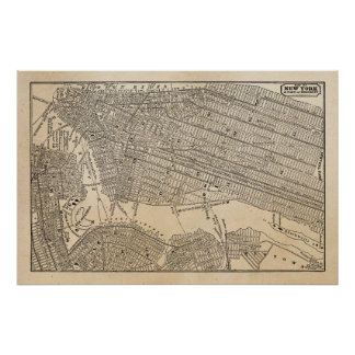 Vintage 1800s New York City Brooklyn Map NYC Maps Poster