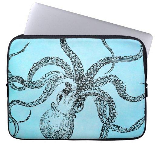 Vintage 1800s Octopus on Teal Blue Watercolor Laptop Computer Sleeve