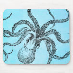 Vintage 1800s Octopus on Teal Blue Watercolor Mouse Pad