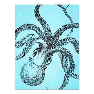 Vintage 1800s Octopus on Teal Blue Watercolor Photo Print