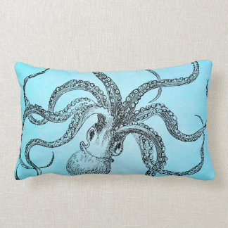Vintage 1800s Octopus on Teal Blue Watercolor Pillow