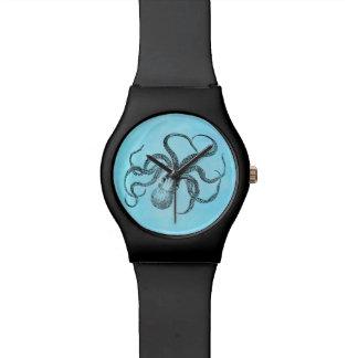 Vintage 1800s Octopus Teal Watercolor Blue Wrist Watch