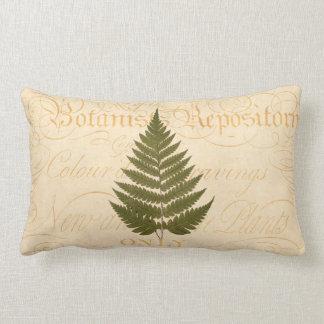 Vintage 1800s Olive Green Fern Leaf Illustration Lumbar Pillow
