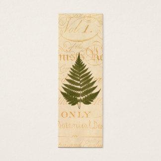 Vintage 1800s Olive Green Fern Leaf Illustration Mini Business Card
