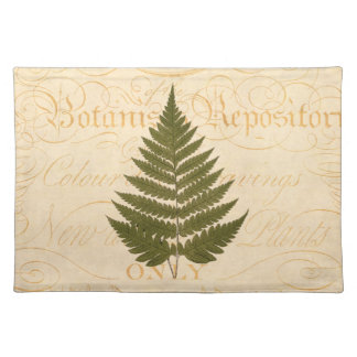 Vintage 1800s Olive Green Fern Leaf Illustration Placemat