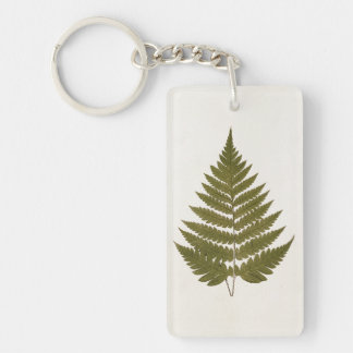 Vintage 1800s Olive Green Fern Leaf Template Keychain