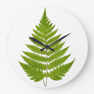 Vintage 1800s Olive Green Fern Leaf Template Large Clock