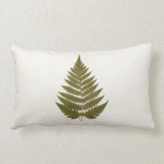 Vintage 1800s Olive Green Fern Leaf Template Lumbar Pillow