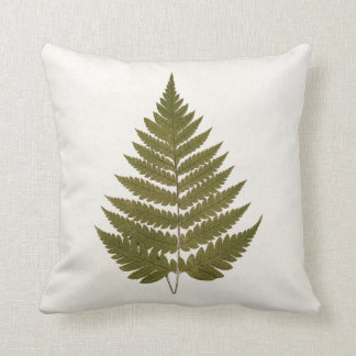 Vintage 1800s Olive Green Fern Leaf Template Throw Pillow