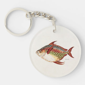 Vintage 1800s Opah Tropical Sporting Fish Drawing Keychain