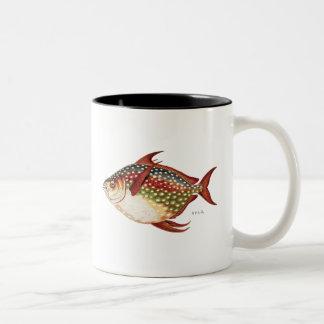 Vintage 1800s Opah Tropical Sporting Fish Drawing Two-Tone Coffee Mug