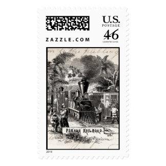 Vintage 1800s Panama Canal Railroad Train Template Postage