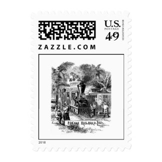 Vintage 1800s Panama Canal Railroad Train Template Postage Stamp