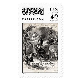 Vintage 1800s Panama Canal Railroad Train Template Stamp