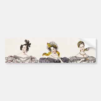 Vintage 1800s Paris Fashion - French Dresses & Hat Bumper Sticker