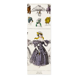 Vintage 1800s Paris Fashion - French Dresses & Hat Double-Sided Mini Business Cards (Pack Of 20)