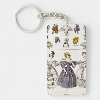 Vintage 1800s Paris Fashion - French Dresses & Hat Keychain