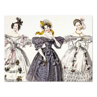 Vintage 1800s Paris Fashion - French Dresses & Hat Photo Print
