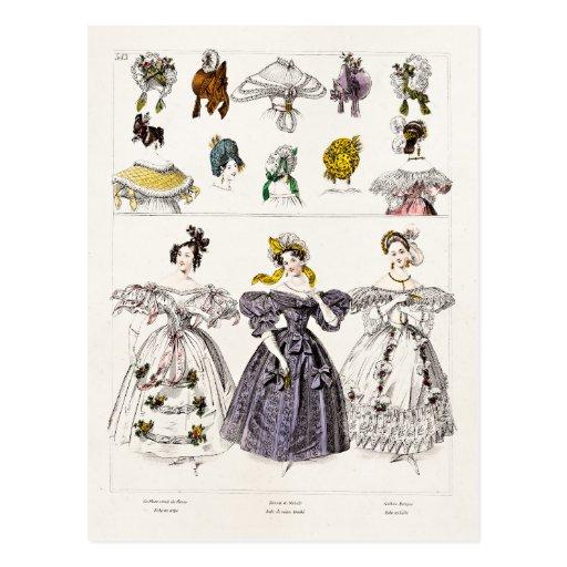 Vintage 1800s Paris Fashion - French Dresses & Hat Post Cards