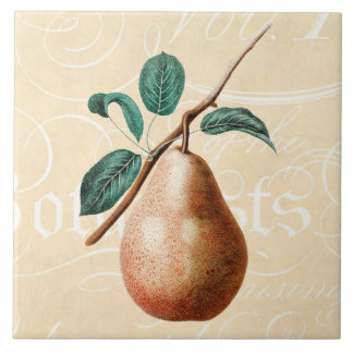 Vintage 1800s Pear Fruit Branch w Leaves - Pears Ceramic Tile