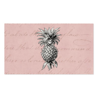 Vintage 1800s Pineapple Illustration Pink Business Card Template