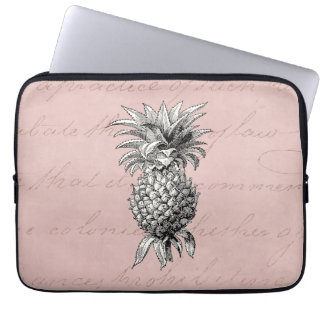 Vintage 1800s Pineapple Illustration Pink Laptop Sleeve