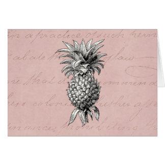 Vintage 1800s Pineapple Illustration Pink Stationery Note Card