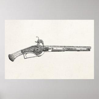 Vintage 1800s Pistol Antique Renaissance Pistols Poster