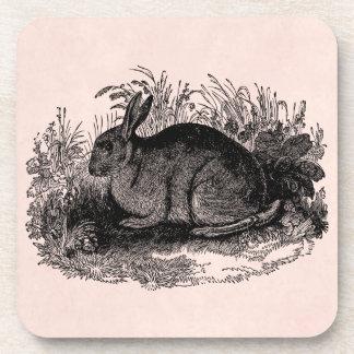 Vintage 1800s Rabbit Retro Bunny Template Rabbits Coaster