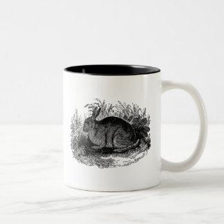Vintage 1800s Rabbit Retro Bunny Template Rabbits Two-Tone Coffee Mug