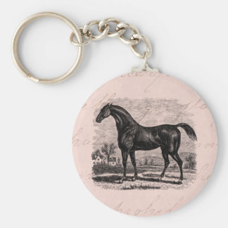 Vintage 1800s Race Horse Retro Thoroughbred Horses Basic Round Button Keychain