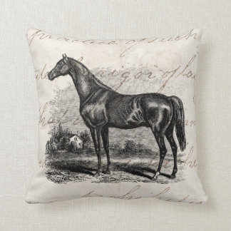 Vintage 1800s Race Horse Retro Thoroughbred Horses Pillow