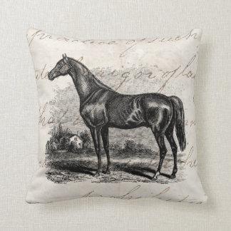 Vintage 1800s Race Horse Retro Thoroughbred Horses Throw Pillow