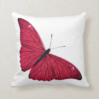 Vintage 1800s Red Butterfly Illustration Template Throw Pillow