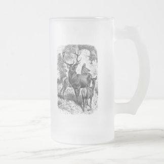 Vintage 1800s Red Deer Illustration Stag Doe Fawn Frosted Glass Beer Mug