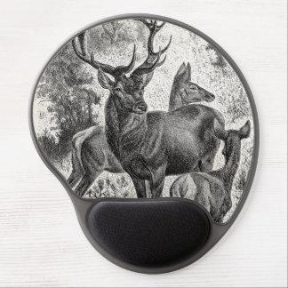 Vintage 1800s Red Deer Illustration Stag Doe Fawn Gel Mouse Pad