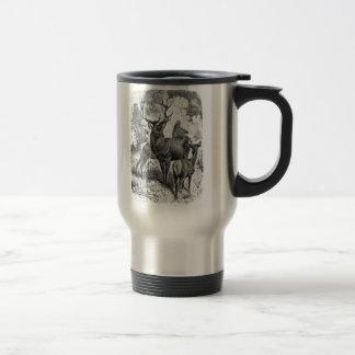 Vintage 1800s Red Deer Illustration Stag Doe Fawn Travel Mug