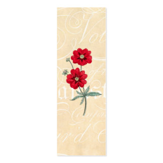 Vintage 1800s Red Flower Cinquefoil Botany Double-Sided Mini Business Cards (Pack Of 20)
