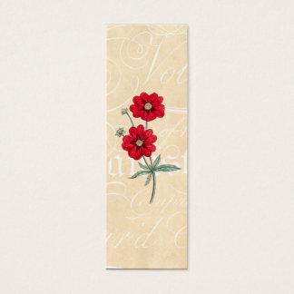 Vintage 1800s Red Flower Cinquefoil Botany Mini Business Card