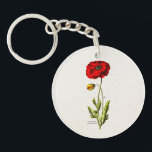 """Vintage 1800s Red Poppy Wild Flower Floral Poppies Keychain<br><div class=""""desc"""">Customized Template For Acrylic Round Keychain - Custom Key Ring. Personalize with your own name, pattern, design, quote, monogram, or photograph. Use our cool templates, artwork, photos, graphics, and illustrations, then add names, text, quotes, and monograms to create your own key chain. Click the &quot;Customize it!&quot; button to make it...</div>"""